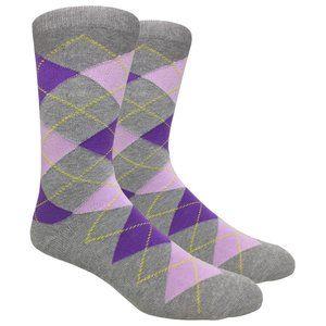 Men's Gray Printed Argyle Dress Socks